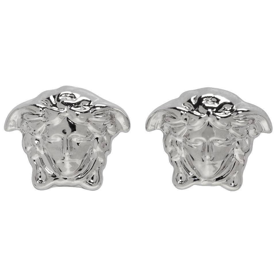 9a0d65e40 Versace Silver Medusa Stud Earrings in Metallic - Lyst
