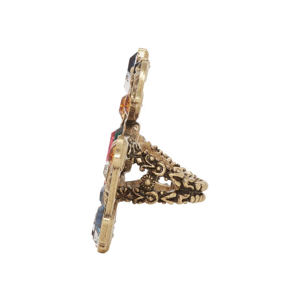 Gucci - Metallic Bague doree et multicolore Crystal GG Multi-Finger - Lyst.  Afficher en plein écran bd64c5a3963