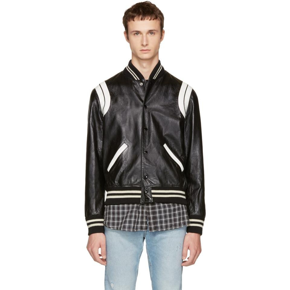 0a5965c7f Saint Laurent Black & White Leather Teddy Bomber Jacket in Black for ...