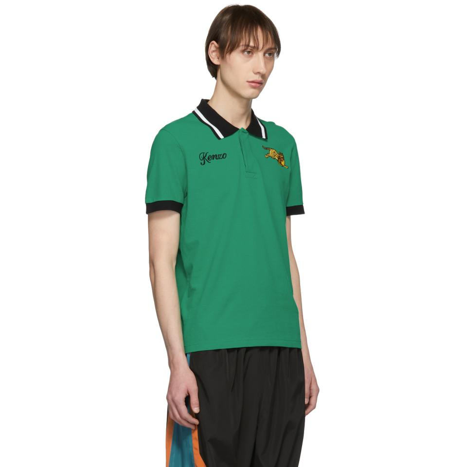 398ecdd6 KENZO - Green Jumping Tiger Fitted Polo for Men - Lyst. View fullscreen