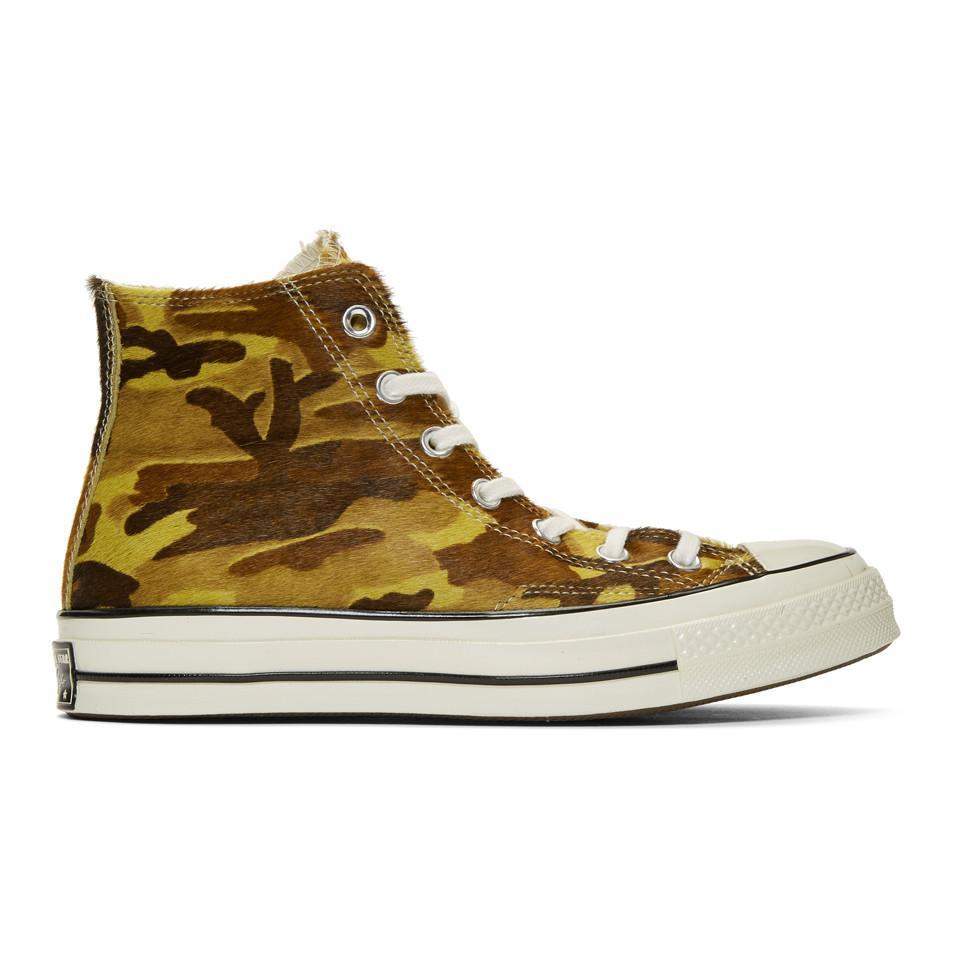 41b0e8d4007d0d Lyst - Converse Green Camo Pony Hair Chuck 70 High Sneakers for Men