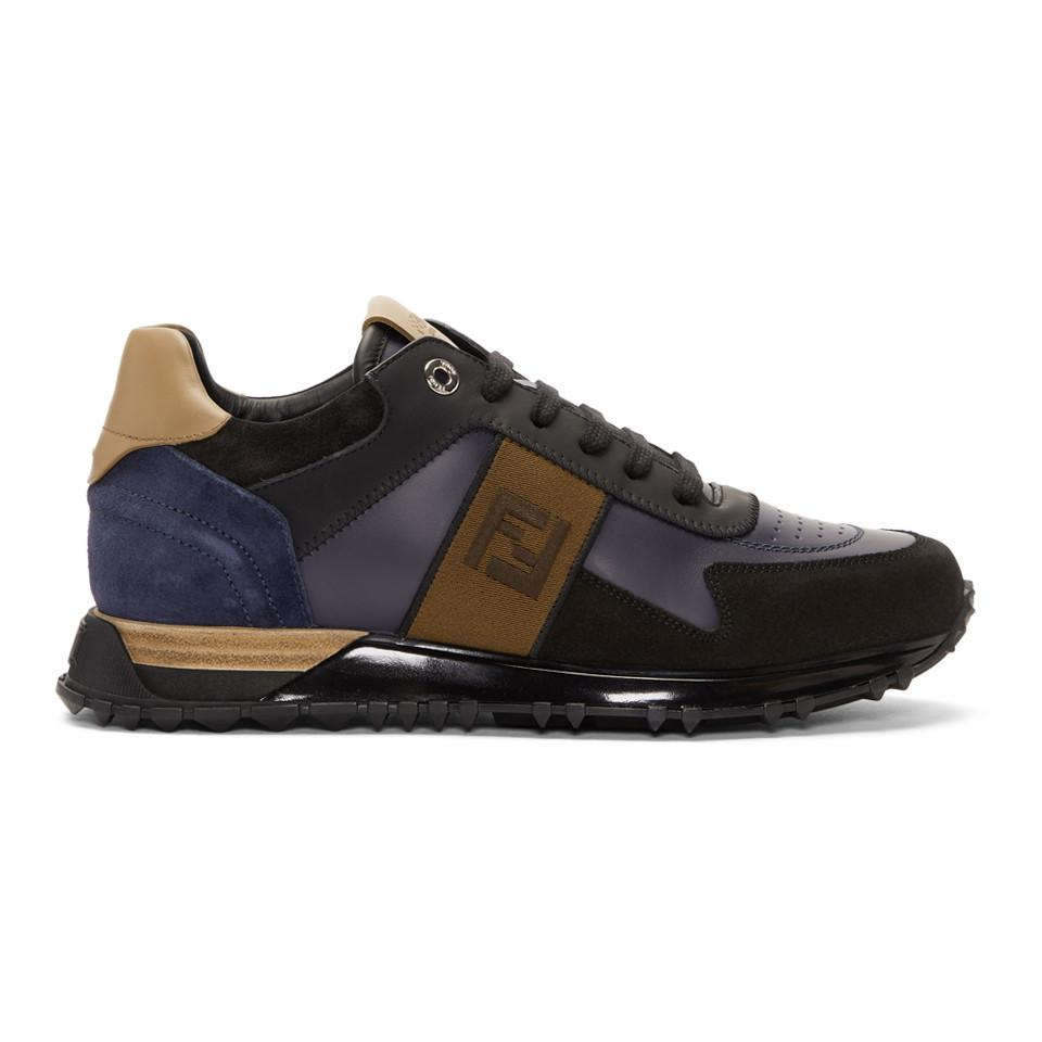 c83beb7fc5ab Lyst - Fendi Black And Blue Forever Patch Sneakers in Black for Men