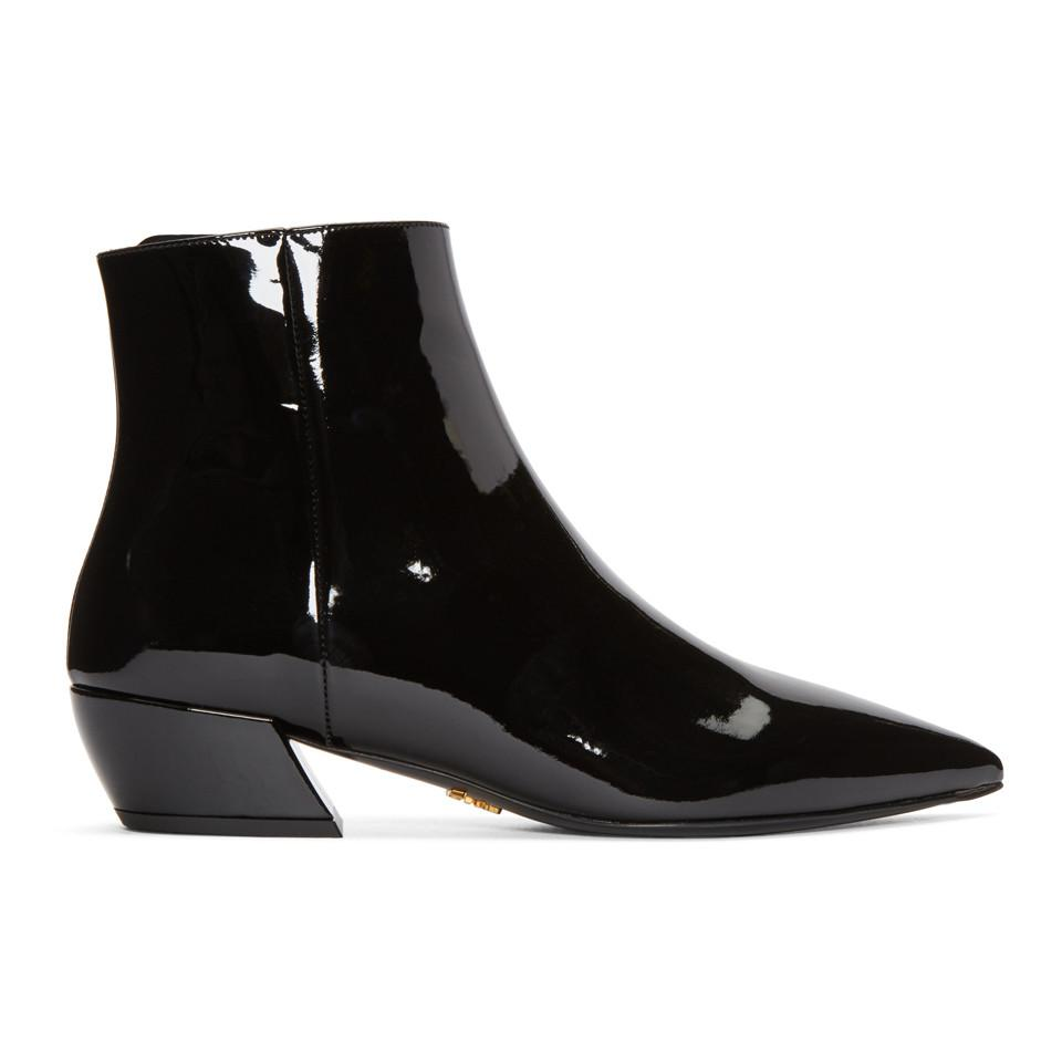 With Mastercard For Sale Prices Online Prada Patent Pointed Boots Free Shipping Countdown Package Te8iwM49