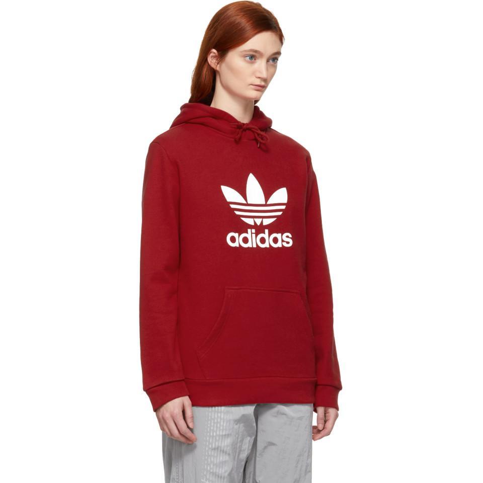 adidas Originals Trefoil Hooded Sweatshirt in Red Lyst