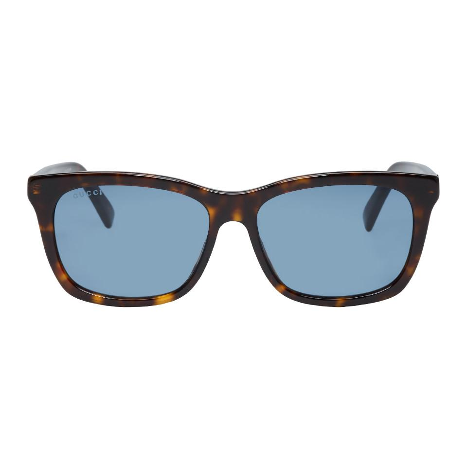 27c4689d6fde Lyst - Gucci Tortoiseshell And Blue Oversized Wearable Sunglasses in ...