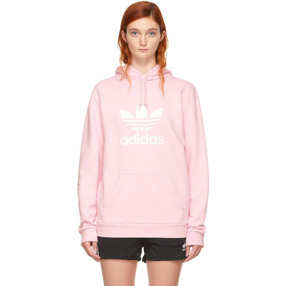 Adidas Originals Pink Warm-up Hoodie in Pink - Lyst ff2d7ed4af