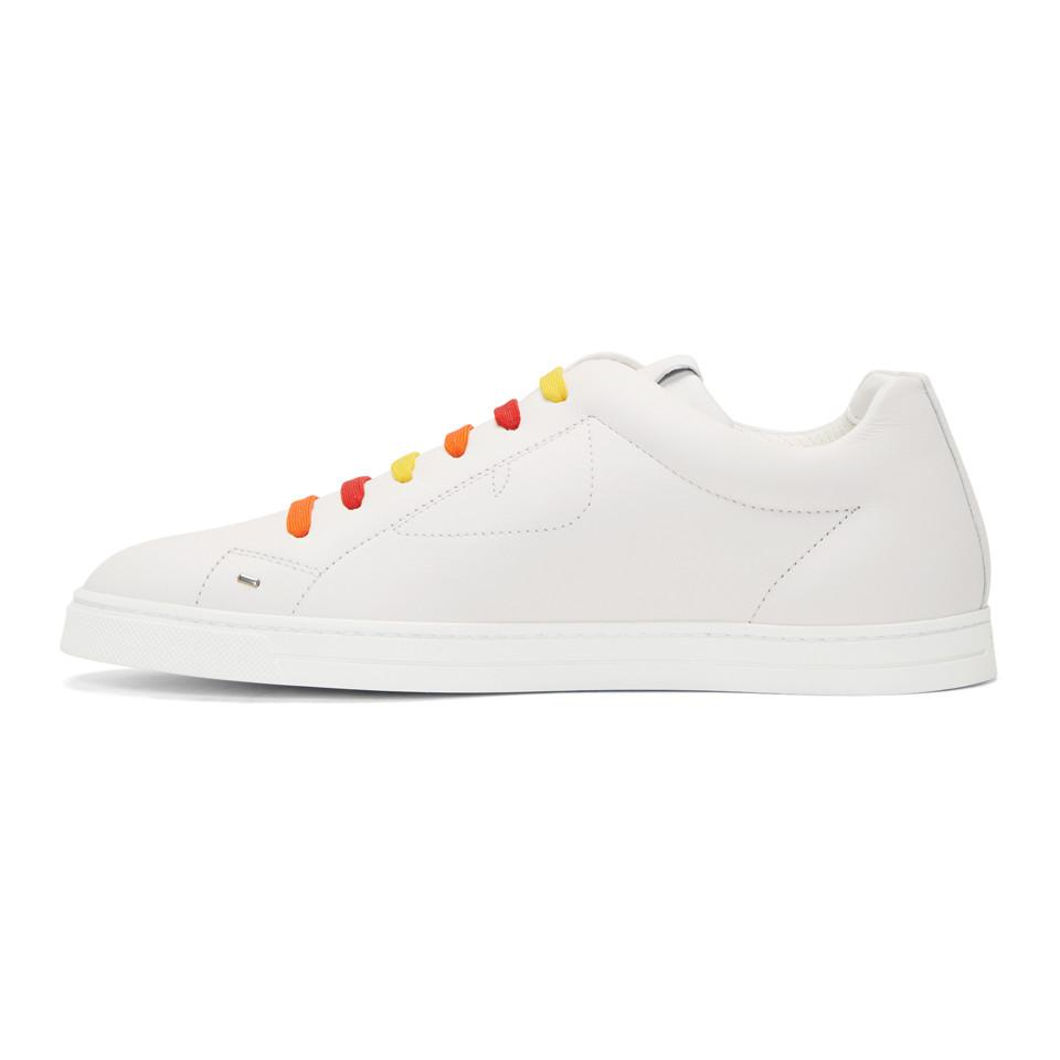 White and Multicolor Bag Bugs Sneakers Fendi
