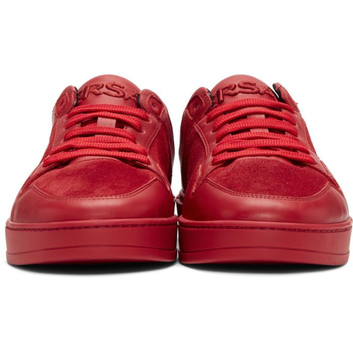 Lyst - Versace Red Leather & Suede Sneakers in Red for Men