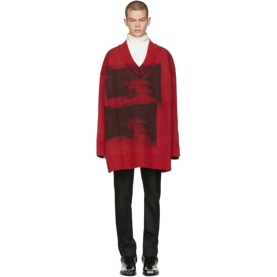 Free Shipping Collections Outlet Real Red and Black Oversized V-Neck Sweater CALVIN KLEIN 205W39NYC Buy Online New Find Great Cheap Price bYHJP7U7b