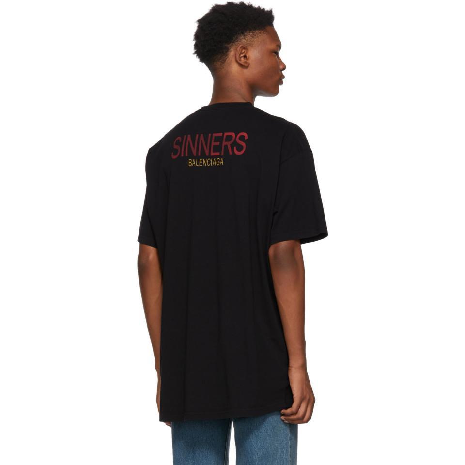 7ccc174e7f04 Balenciaga Black Sinners Oversized T-shirt in Black for Men - Lyst