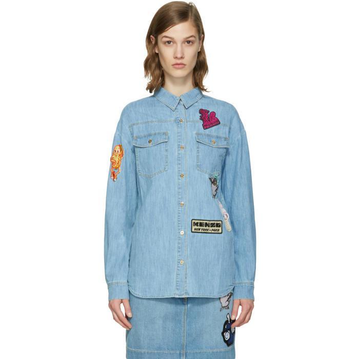 cfc14a53 Lyst - Kenzo Blue Denim Cartoon Patches Shirt in Blue