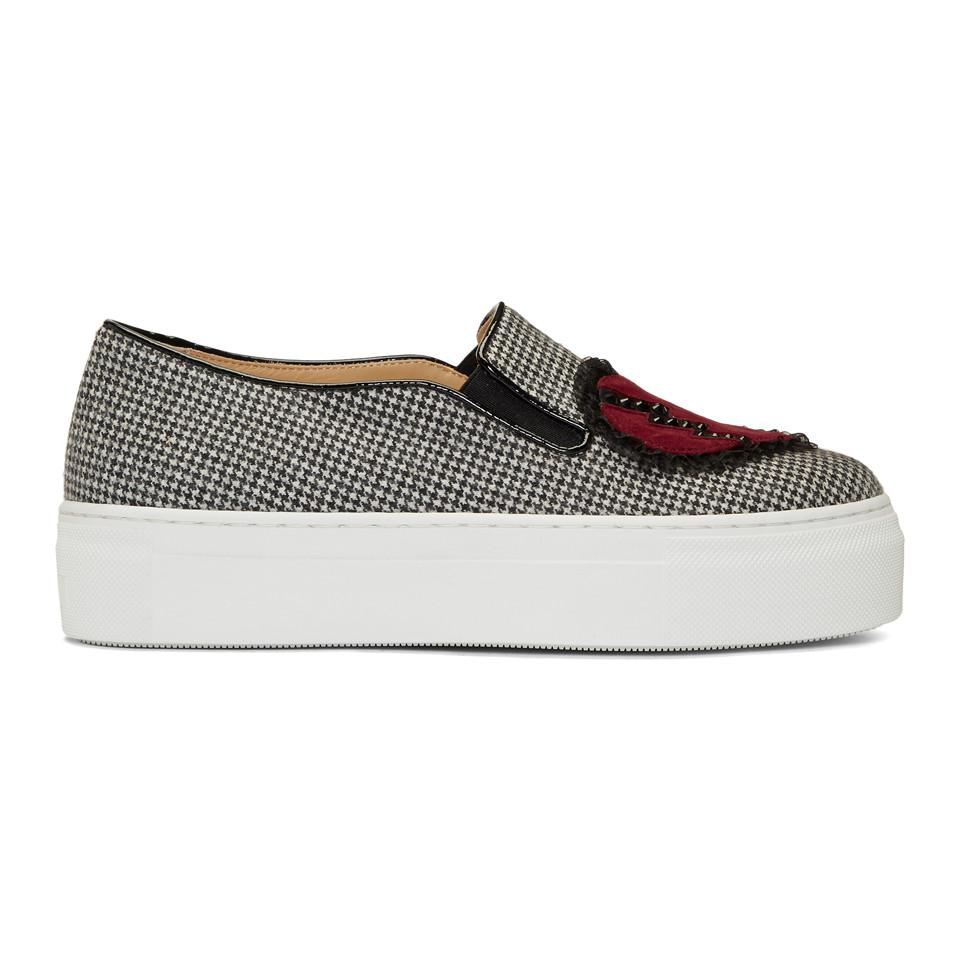 White and Black Broken Heart Alex Slip-On Sneakers Charlotte Olympia BZZXc3wiBs