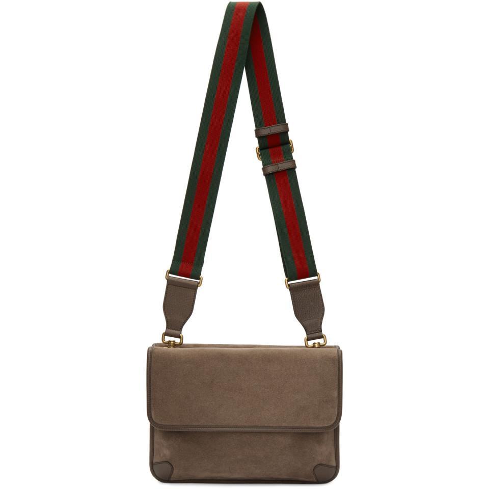 fc293ffe5cdb Gucci Beige Suede Neo Vintage Foldover Messenger Bag in Natural for ...