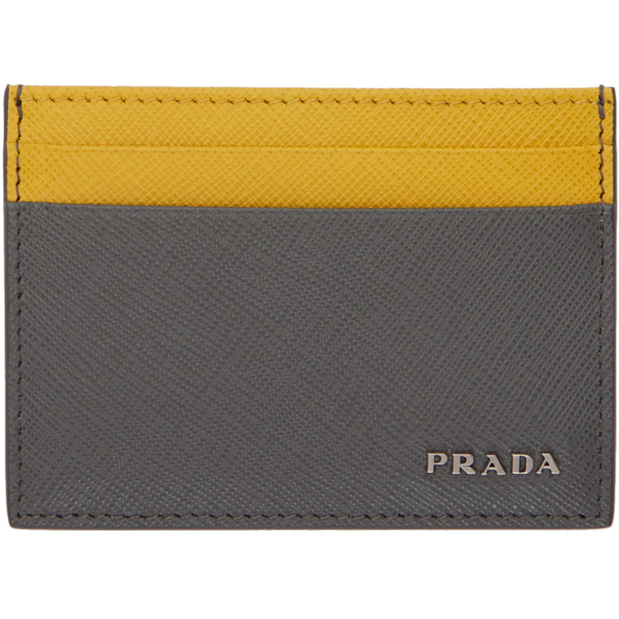 bde84cf9d7f2 Lyst - Prada Grey And Yellow Saffiano Bicolor Card Holder in Gray ...