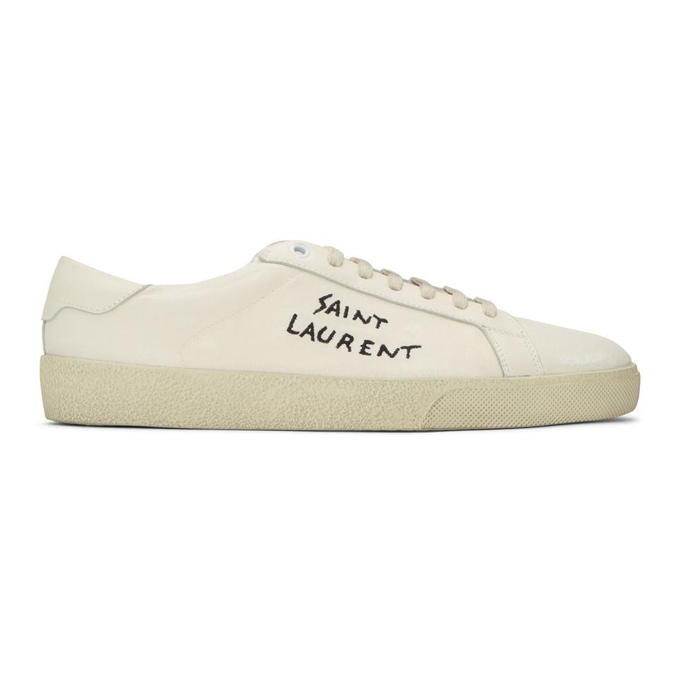 Saint Laurent Off-White Damaged Canvas Court Classic SL/06 High-Top Sneakers f7gQRmV43
