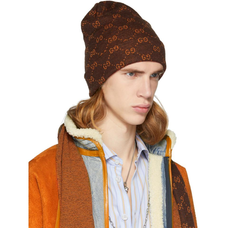 Gucci - Brown And Orange Alpaca GG Supreme Beanie for Men - Lyst. View  fullscreen b9544469c2ba