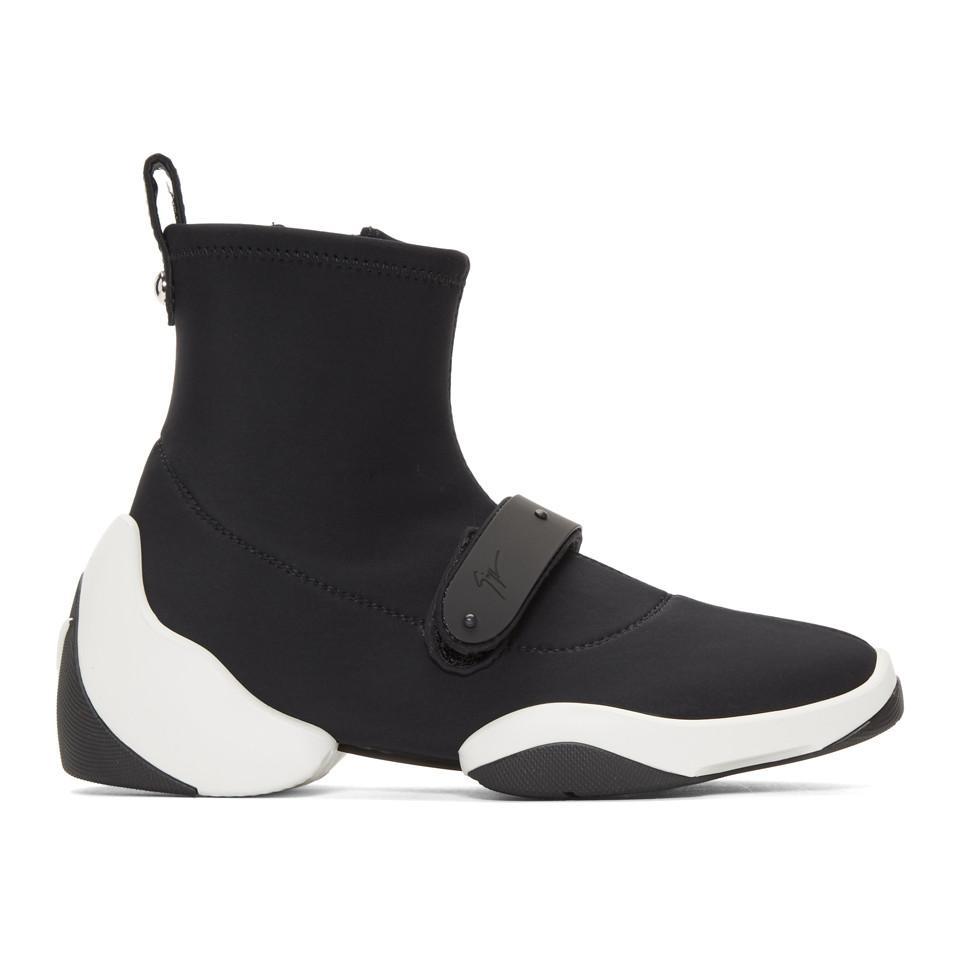 Dolce & Gabbana Black Carlito Stretch High-Top Sneakers 4iYCQOKM5z