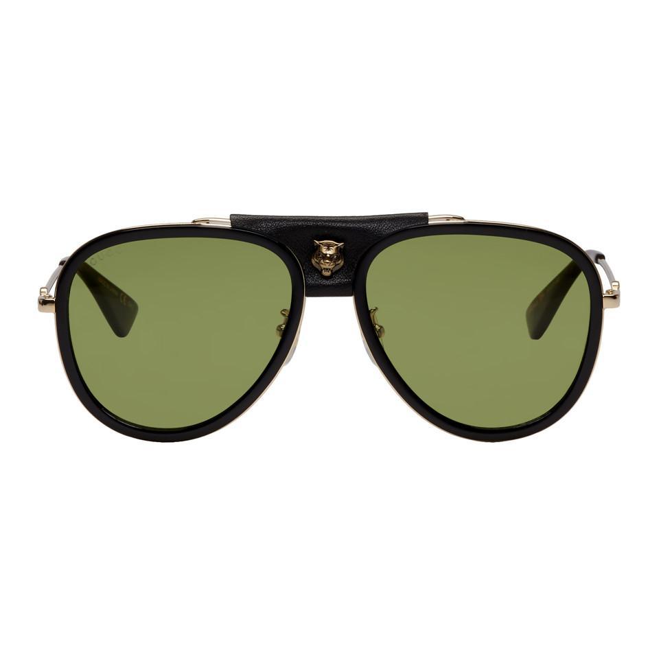 6e31a865a2 Lyst - Gucci Black Web Block Aviator Sunglasses for Men