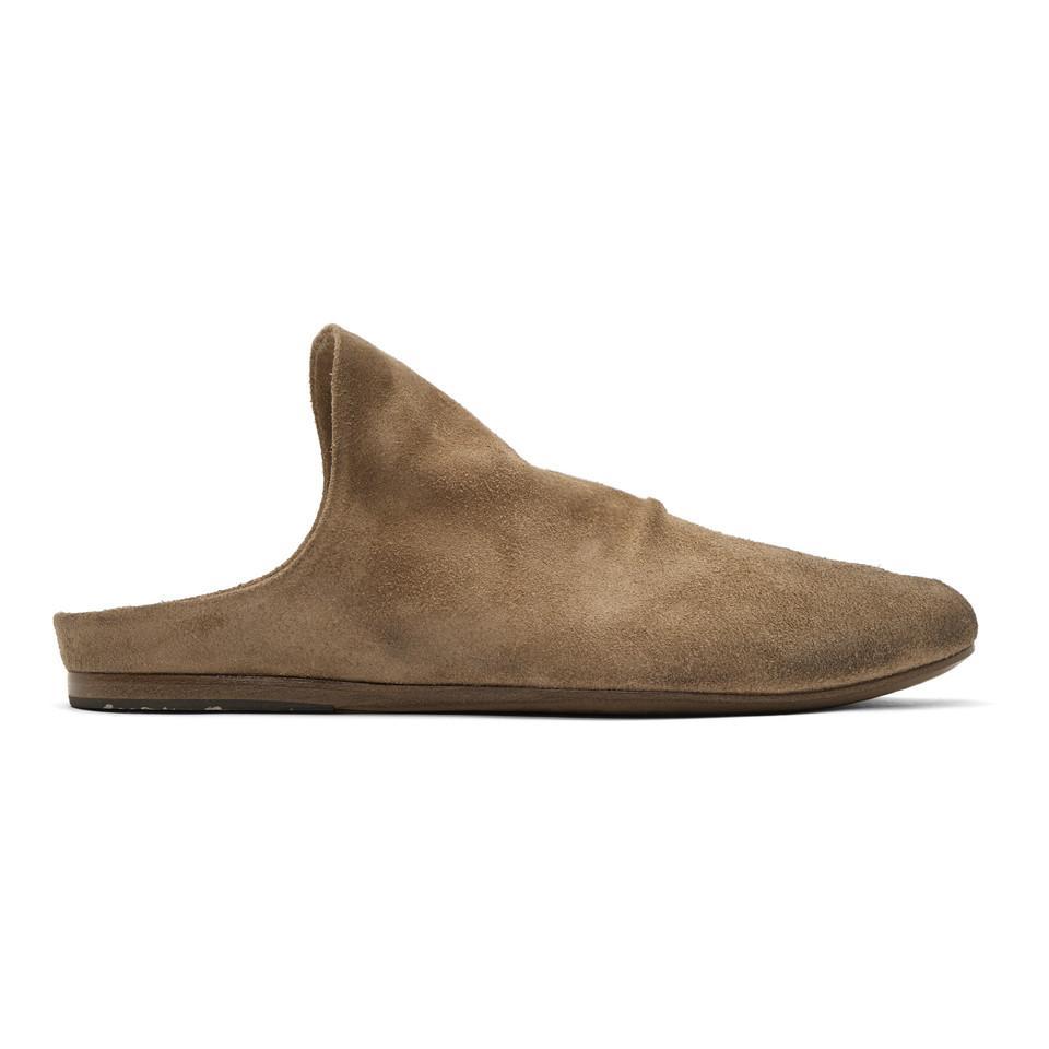 Marsèll Brown Suede Strapiatta Open Back Loafers