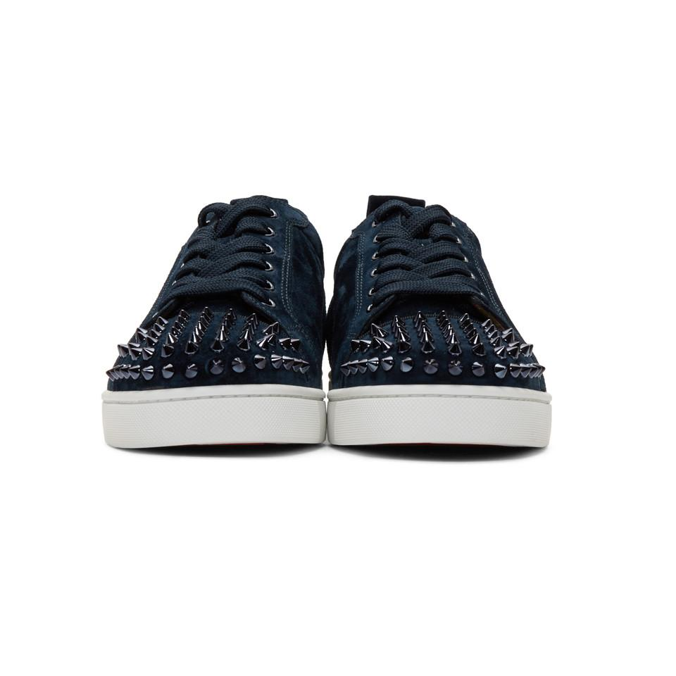 b32722827081 Christian Louboutin - Blue Navy Suede Louis Junior Spikes Sneakers for Men  - Lyst. View fullscreen