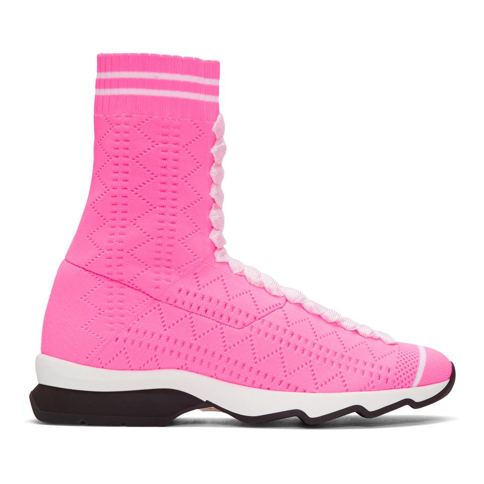 Balmain Pink Flocked May London High-Top Sneakers BDrgOueDc