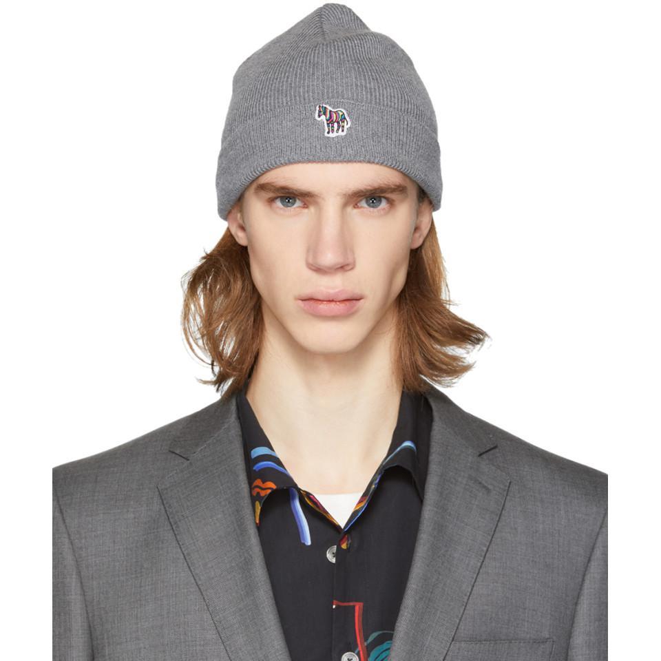 Lyst - Ps By Paul Smith Grey Wool Zebra Beanie in Gray for Men d991dd5d545