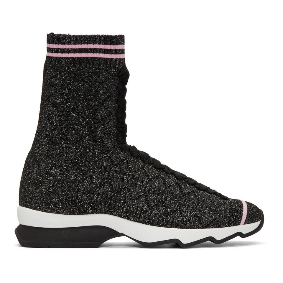 Fendi Lurex Sock High-Top Sneakers a08zBFQI