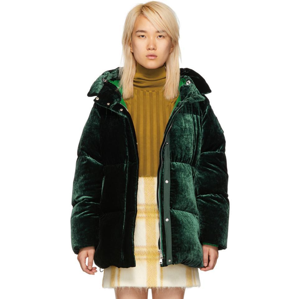 38b2f56b707c Moncler Green Velvet Down Butor Jacket in Green - Lyst