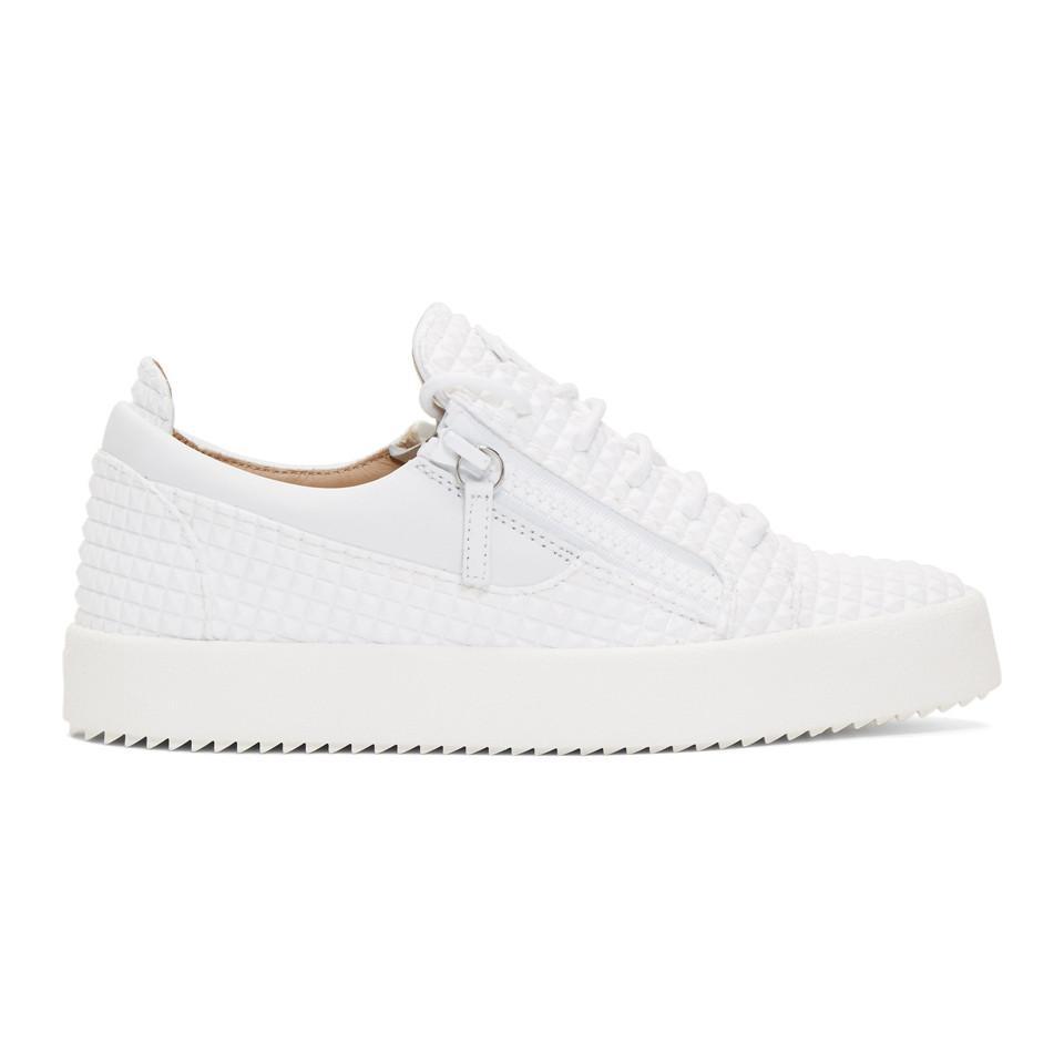 abd5e9274243c Lyst - Giuseppe Zanotti White Embossed Frankie Sneakers in White for Men
