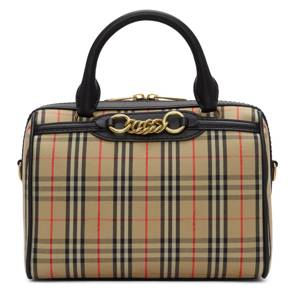 dd2c3a6cb6 Burberry Beige 1983 Check Small Link Bowling Bag in Black - Lyst