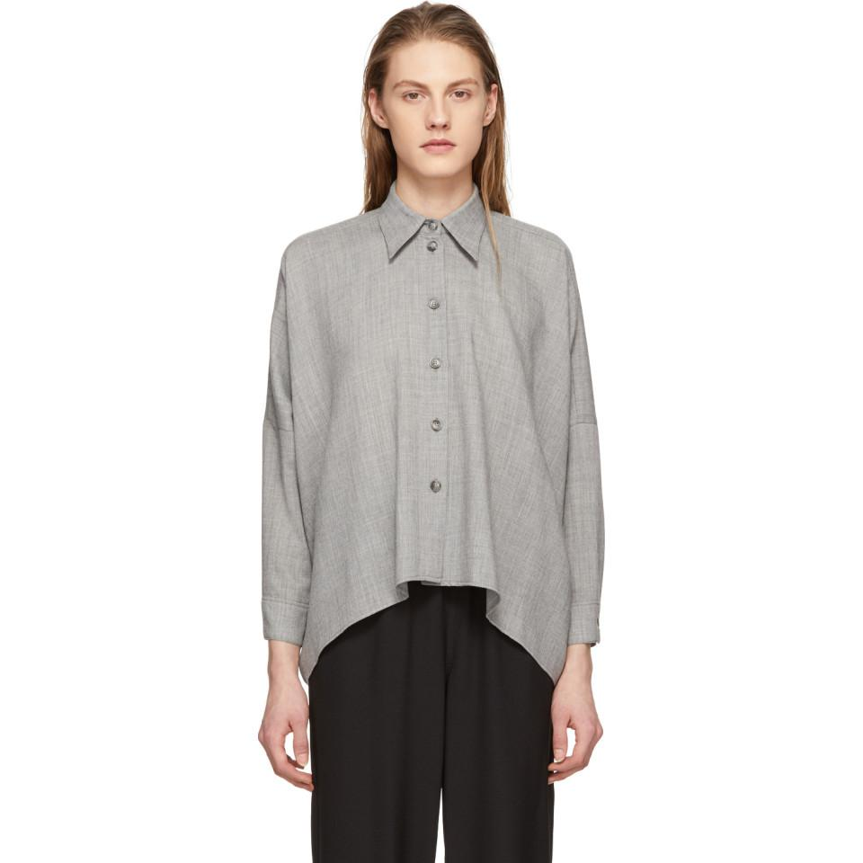 Grey Wool Button-Up Shirt Maison Martin Margiela Buy Cheap Great Deals For Nice Cheap Price Outlet Hot Sale Recommend Cheap Price Outlet Locations Sale Online MnTgzDdh