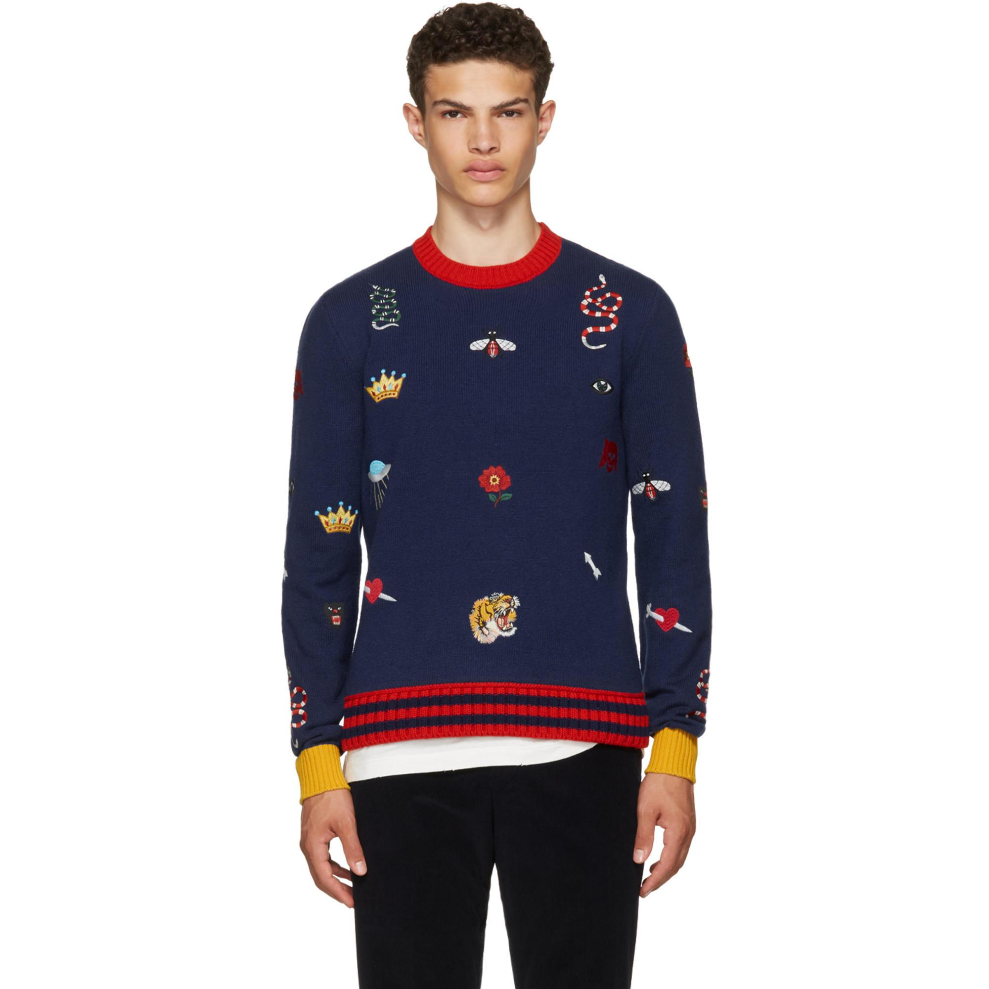 55ad7b2fc88 Gucci Navy Embroidered Sweater in Blue for Men - Lyst