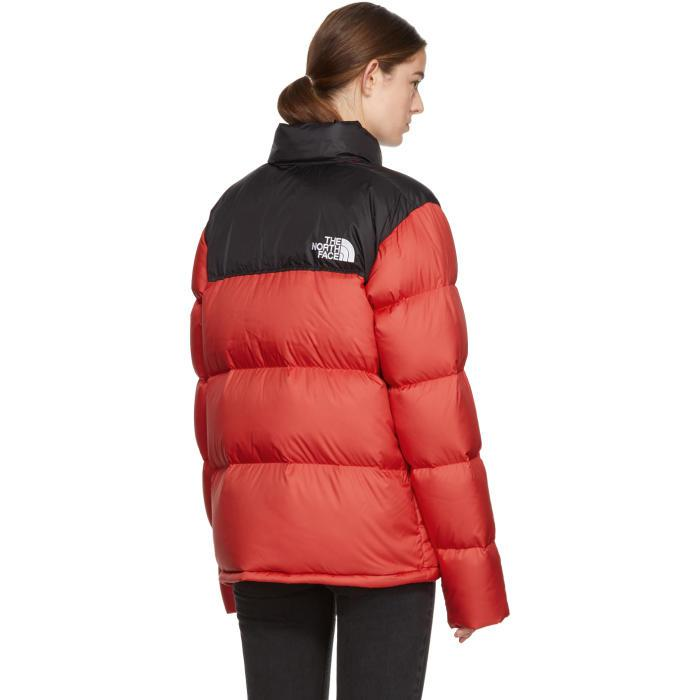 8b116bfcc377 Lyst - The North Face Red   Black Down Novelty Nuptse Jacket in Red