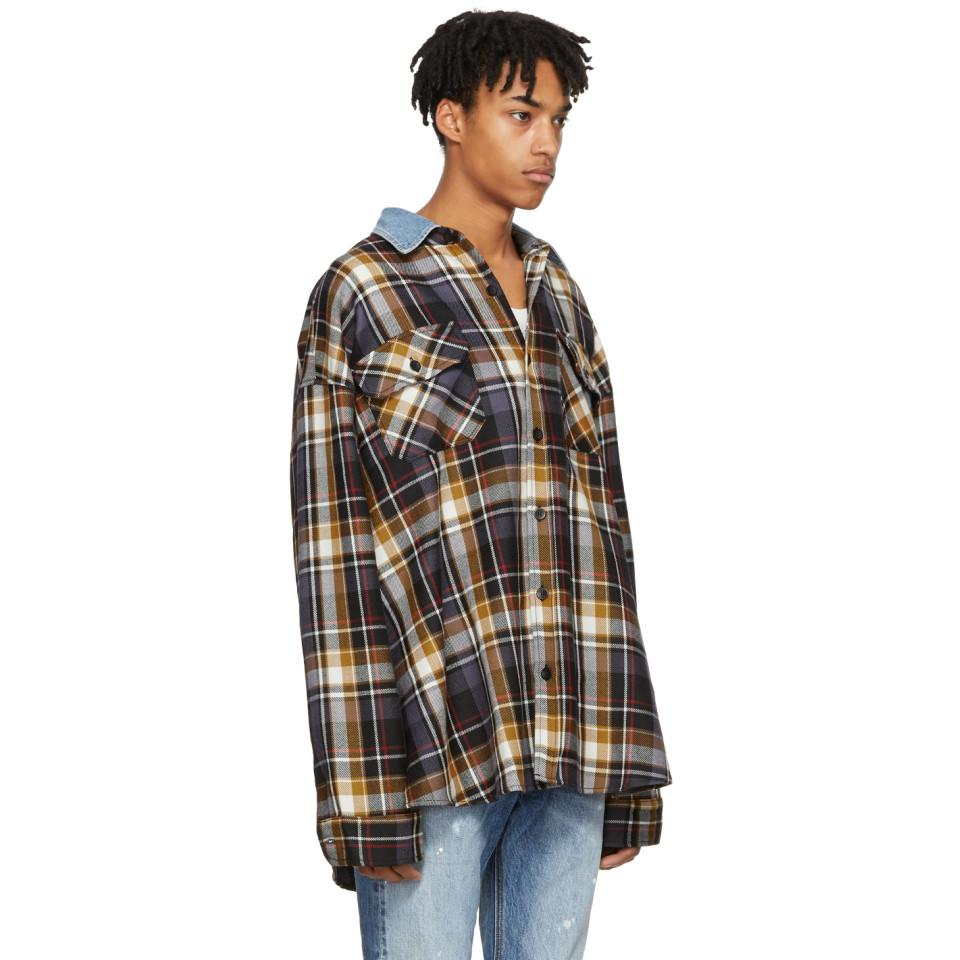 b406c51076 Lyst - Fear Of God Purple Oversized Plaid Denim Collar Flannel Shirt ...