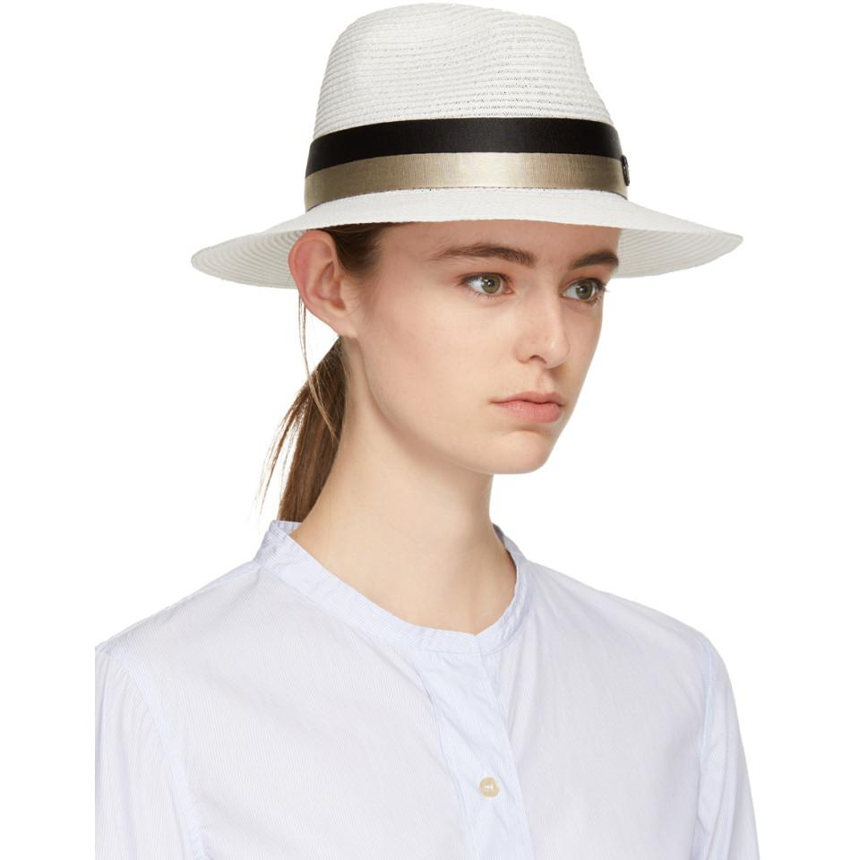 Beige and Navy Straw Henrietta Fedora Maison Michel