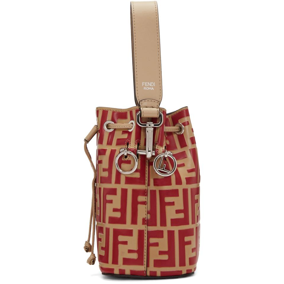 9c4dcd0a3580 Fendi - Red And Beige Forever Mini Mon Tresor Bag - Lyst. View fullscreen