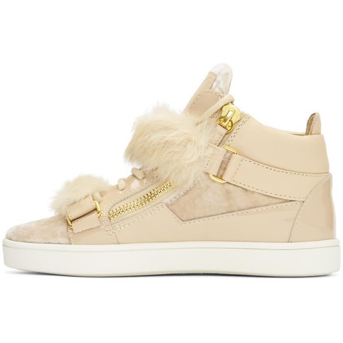 Giuseppe Zanotti Pink Patent & Velvet Brek Mid-Top Sneakers PJkfQPeLQ