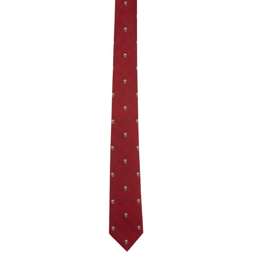 Red Prince of Wales Tie Alexander McQueen 0ETVkxkoC8