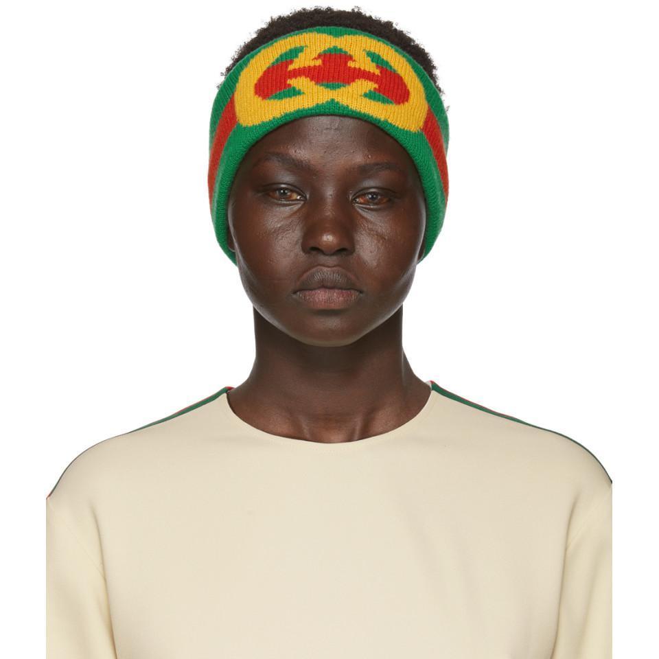 95147f93a77 Gucci Web Wool Headband With Interlocking G in Green - Save 11% - Lyst