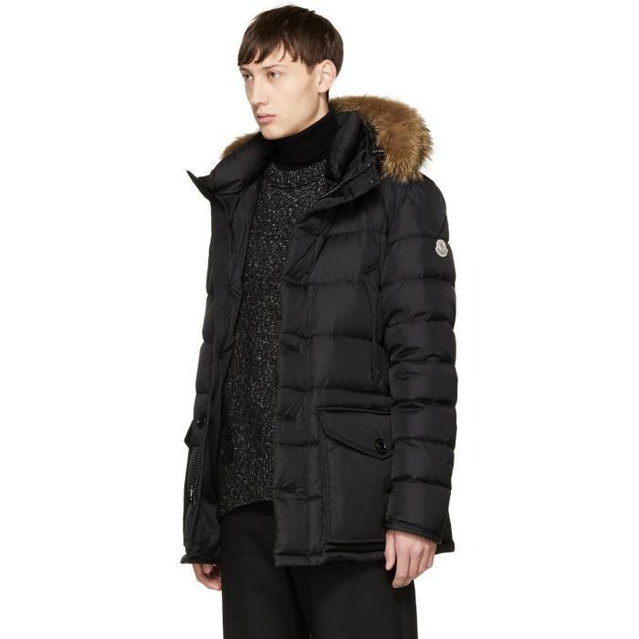 Moncler Black Down Cluny Coat In Black For Men Lyst