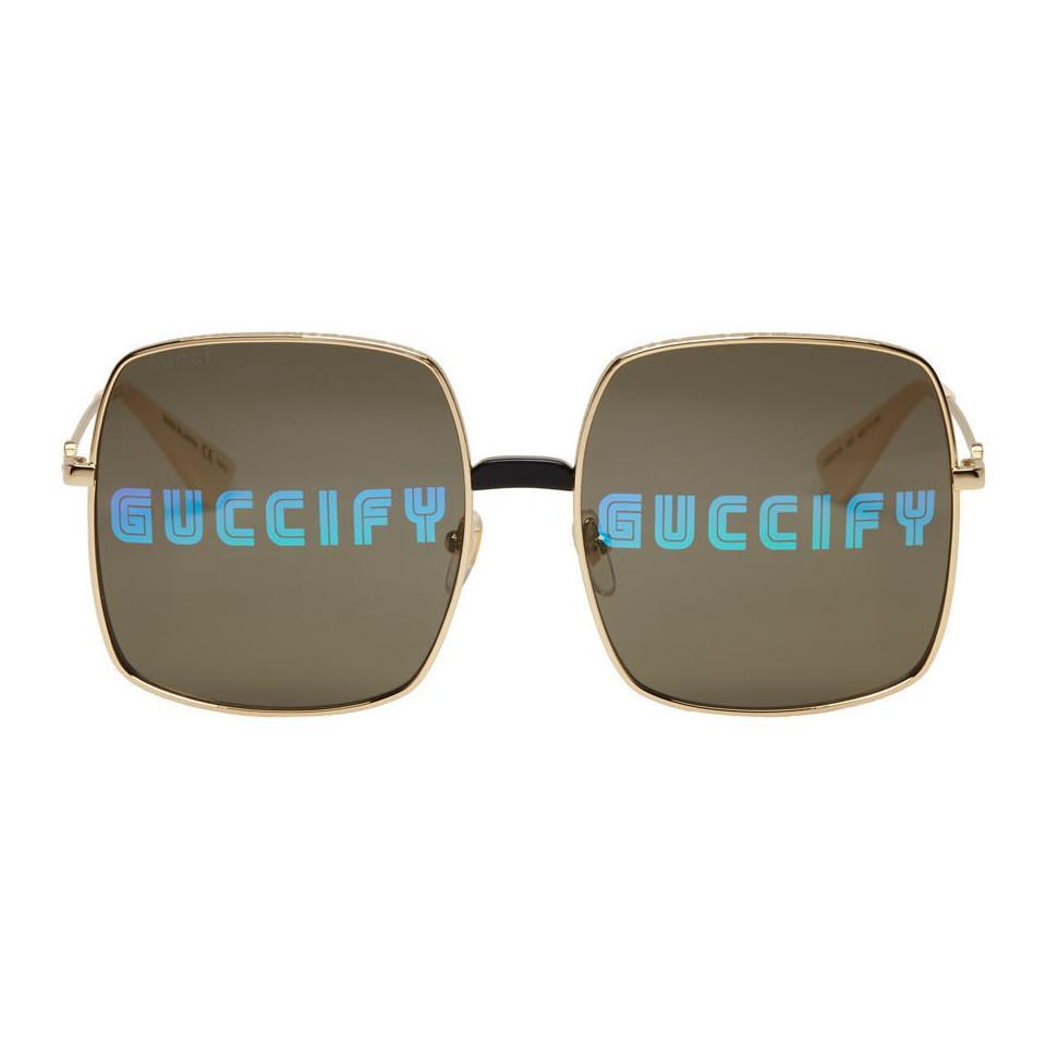Gucci. Lunettes de soleil rectangulaires surdimensionnees dorees homme 4400014d4115