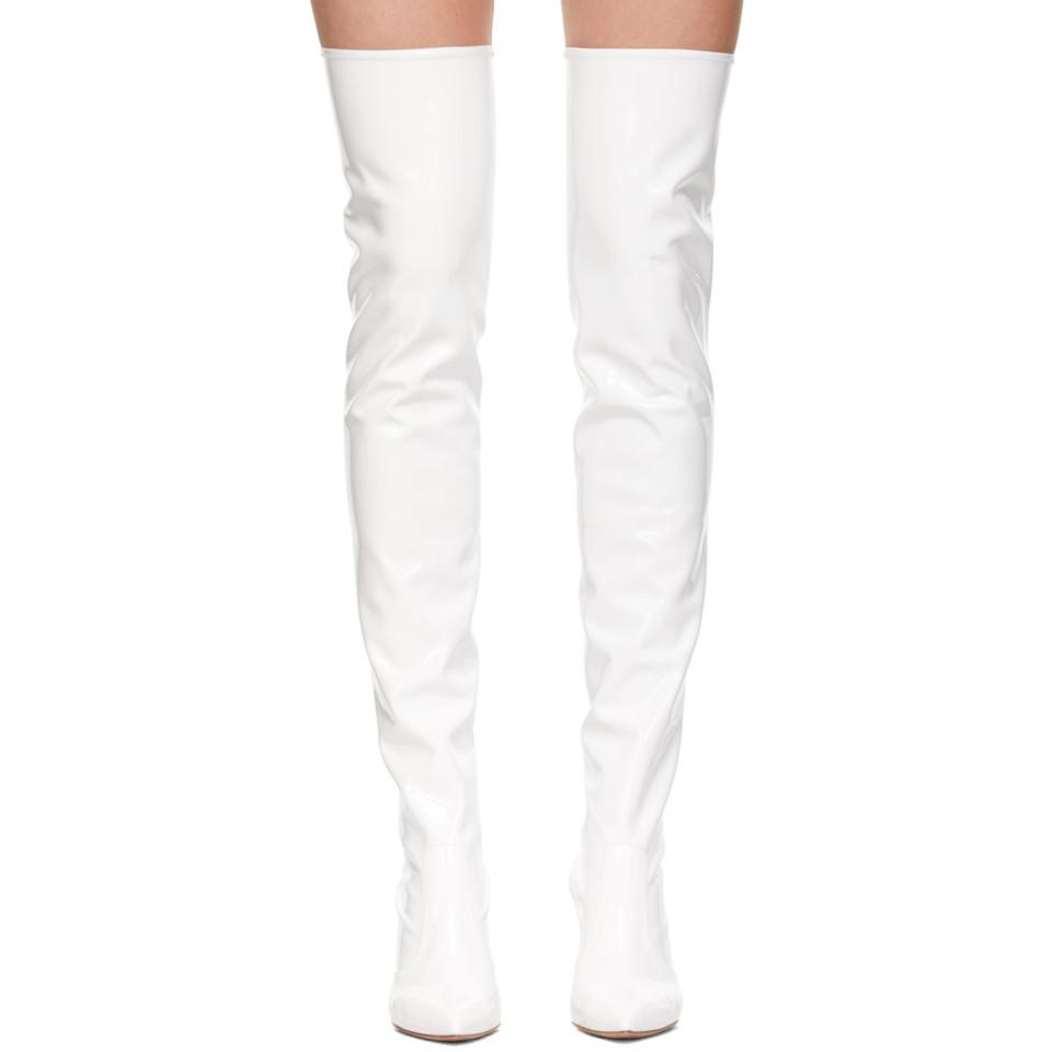 ebe177cf442 Lyst - Gianvito Rossi White Imogen Over-the-knee Boots in White