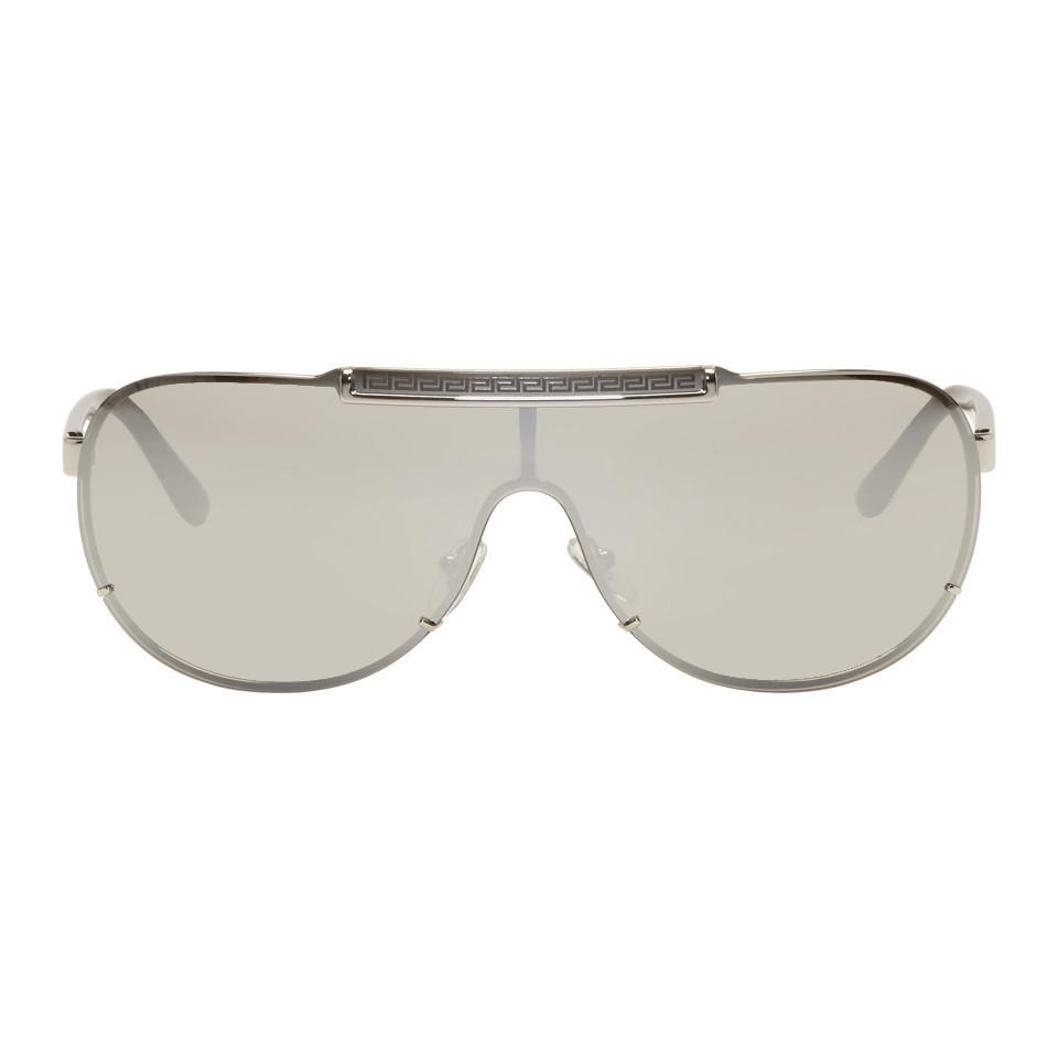 54738a20316d Versace Silver Rock Icon Greca Aviator Sunglasses in Metallic for ...