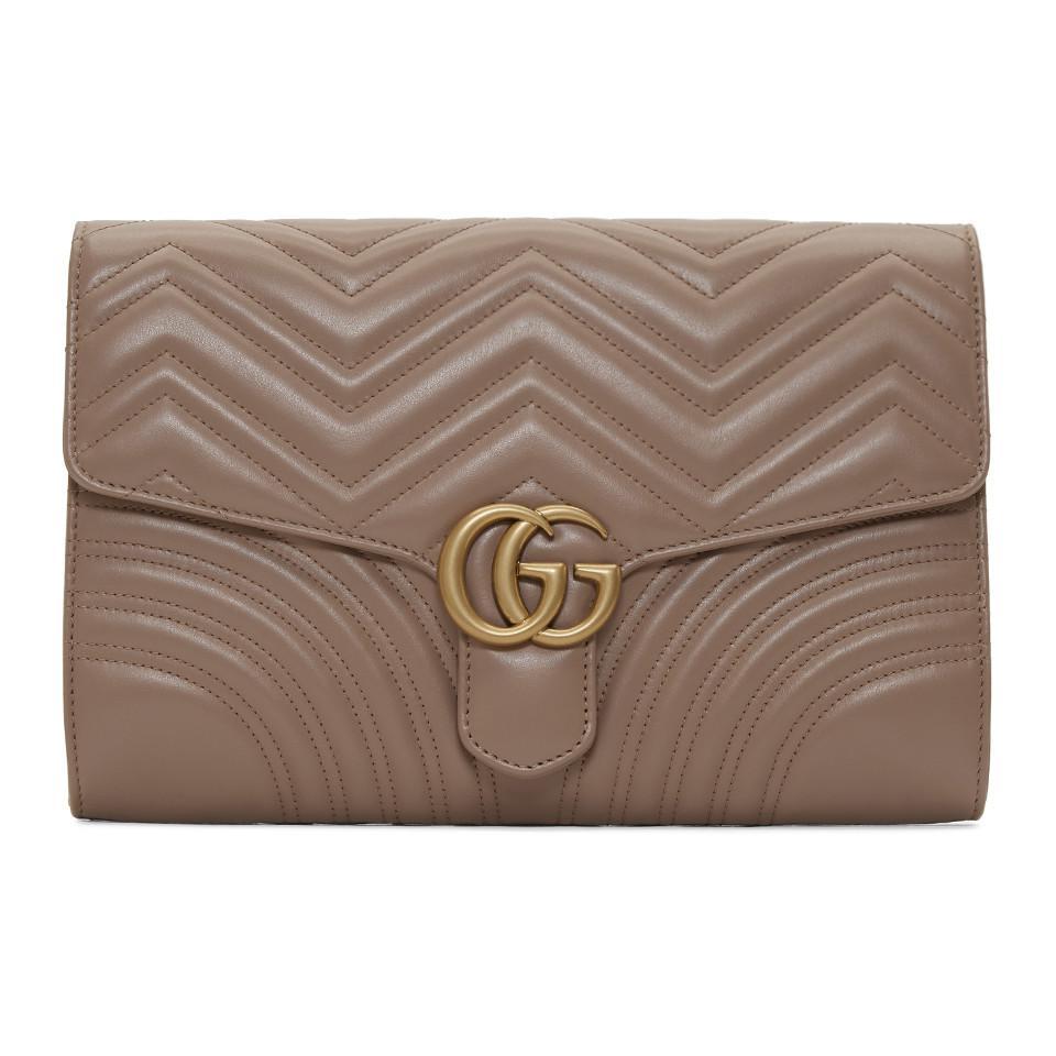 65126e669a0e0e Gucci Pink Medium GG Marmont Clutch in Brown - Lyst