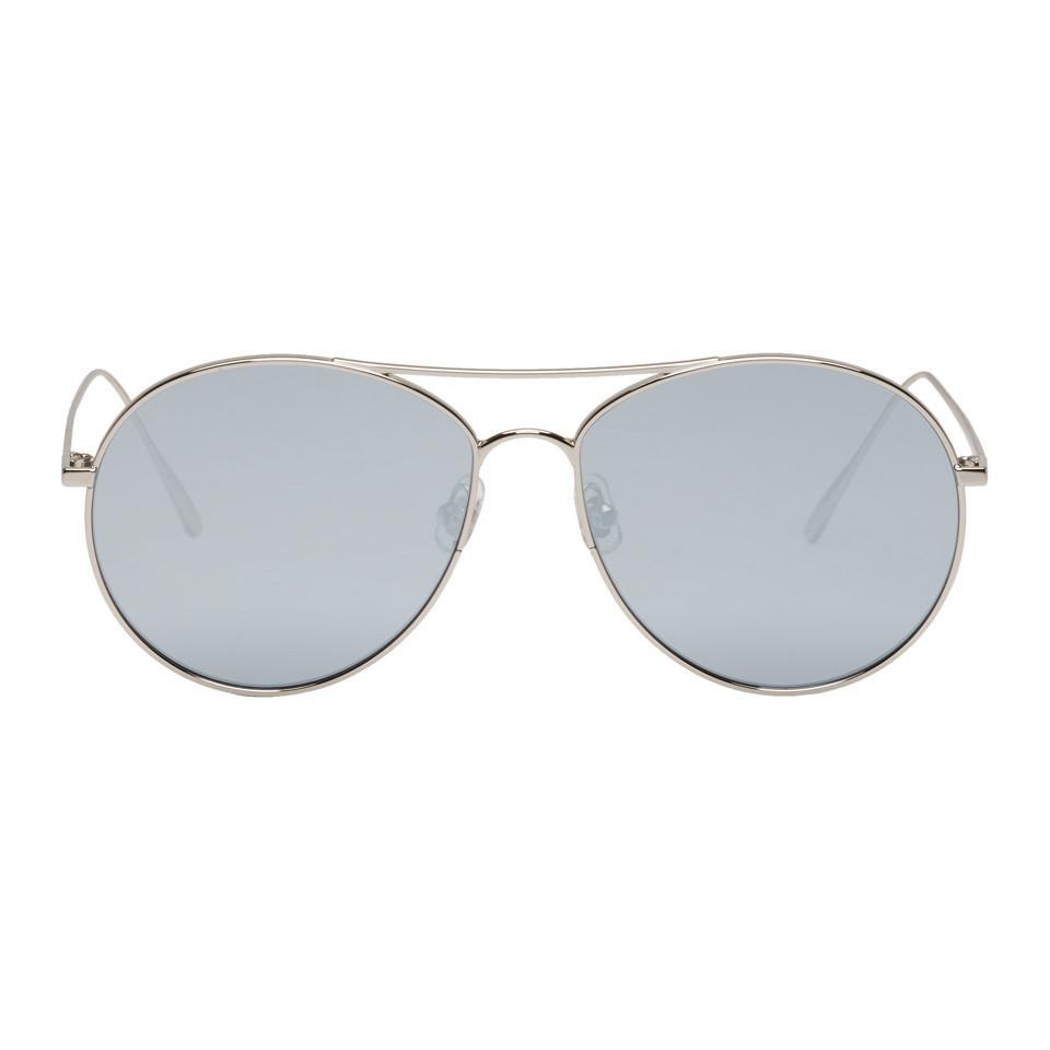 be4052a54db Gentle Monster. Women s Gray Silver And Grey Ranny Ring Aviator Sunglasses