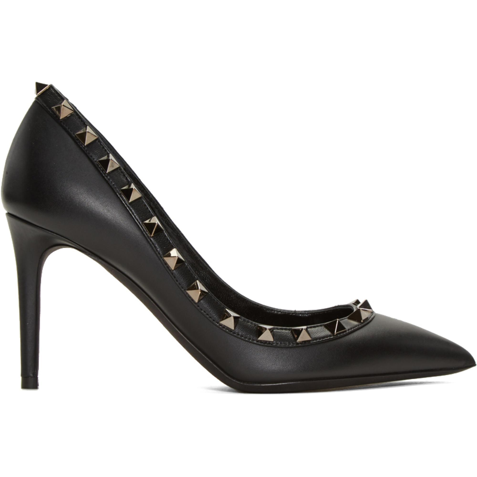 Lyst - Chaussures à talons hauts noires Rockstud Garavani Valentino ... 8be8523773cb