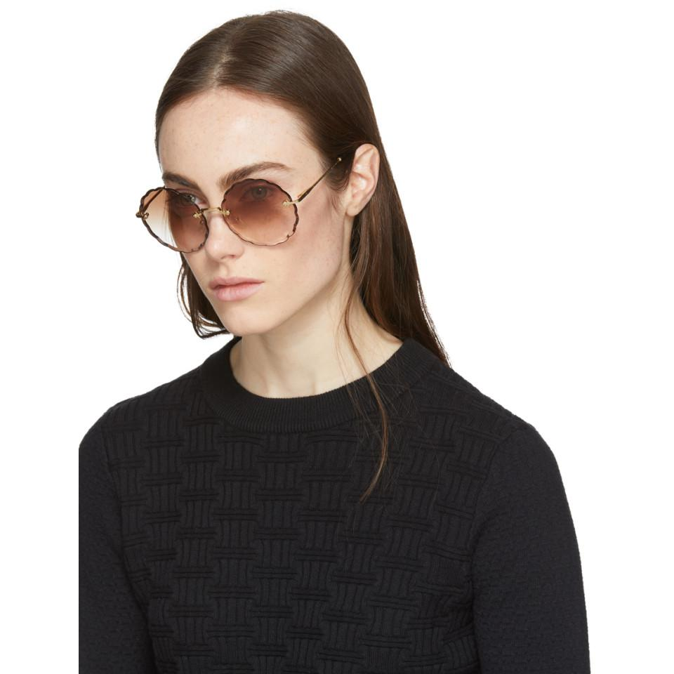 6d748c153d95f Chloé Gold Rosie Sunglasses in Metallic - Lyst