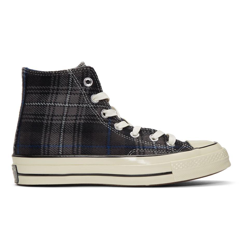 b836e0799e98cb Converse Black Plaid Chuck 70 High Sneakers in Black for Men - Lyst