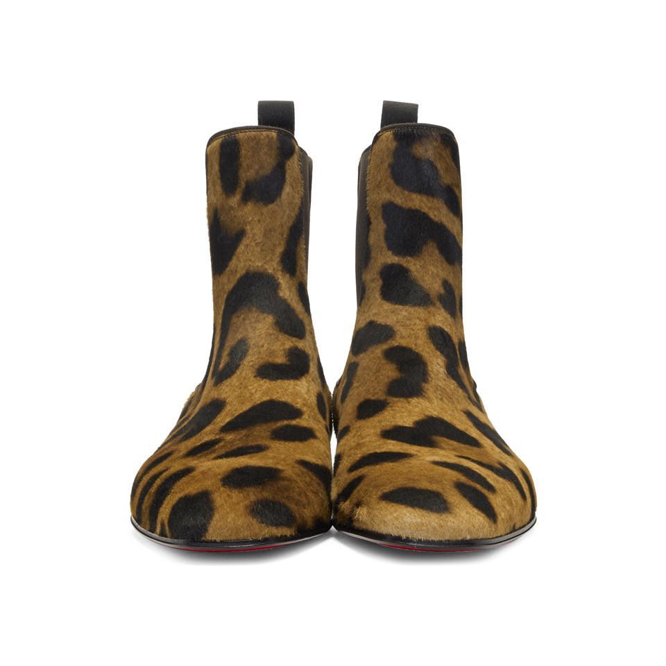 20b2f02f7a4 Christian Louboutin - Brown Leopard Calf-hair Roadie Orlato Flat Boots for  Men - Lyst. View fullscreen