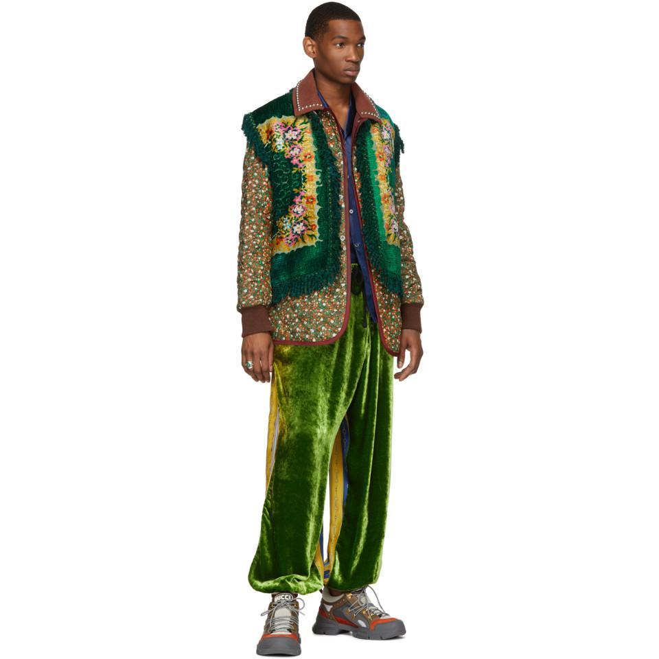 98275936829 Lyst - Gucci Green Floral Velvet Jacquard Vest in Green for Men